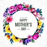 glad mödrar dag cirkel kort med blomma ram vektor