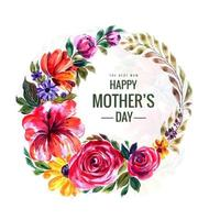 lycklig mors dag akvarell blomma krans vektor