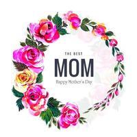mors dag blomma krans i akvarell stil vektor