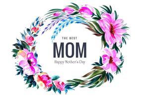 kreisförmiger Blumendekorationsrahmen für Muttertag vektor