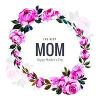 dekorativ rosa blommaram för mors dag vektor
