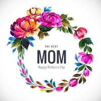 mors dag blommig ram med flerfärgade blad vektor