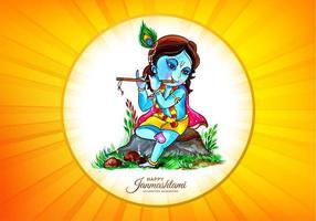 Lord Krishna in fröhlichem Janmashtami-Burst-Design vektor