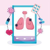 smartphone online hälsa lungsjukdom koncept vektor