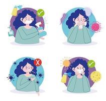 Präventionsmaßnahmen, um nicht krank zu werden oder Viren zu verbreiten vektor