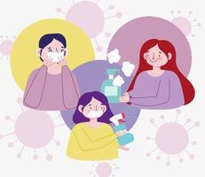 Coronavirus-Design mit Menschen in Masken und Sprühen vektor