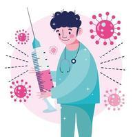 läkare med spruta för förebyggande av coronavirus vektor