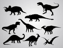 dinosaurie silhuett set vektor