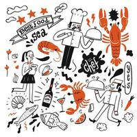Hand gezeichnet von Restaurantelementen einschließlich Meeresfrüchten