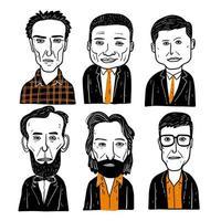 olika ansikten på män i kostymer