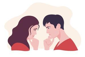 kvinnlig och manlig tittar på varandra och tänker vektor