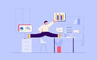Gymnastischer Geschäftsmann, der im Büro mit Diagrammen arbeitet vektor