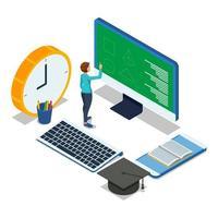 Schüler, der Online-Übung auf Computer-Desktop macht