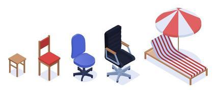 verschiedene Stuhl gesetzt Karriere Wachstum Indikator Konzept
