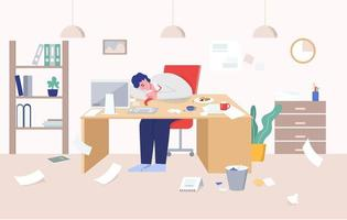 Mann umgeben von Chaos, das auf Schreibtisch bei der Arbeit schläft