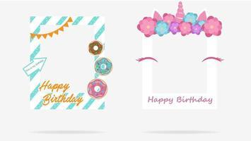 Satz dekorative Bilderrahmen zum Geburtstag vektor