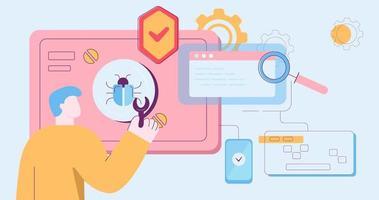 Cartoon männlich, der Computersoftware vor Viren schützt