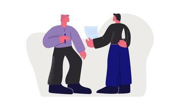 två affärsman som gör avtal med en innehavskniv