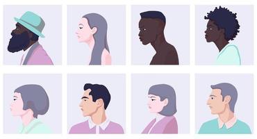 sidovy av olika tecknade kvinnor och man ansikten