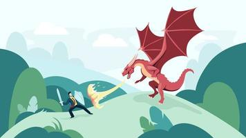 Karikaturgeschäftsmann, der feuerspeienden Drachen kämpft vektor