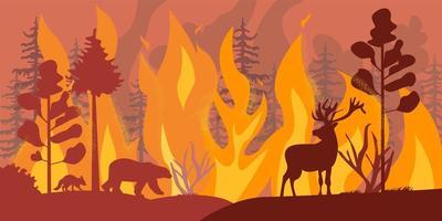 Silhouetten von Wildtieren bei Waldbrand vektor
