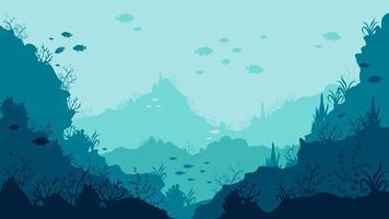 Rebottom des Ozeans mit schwimmenden Fischen und Korallen vektor