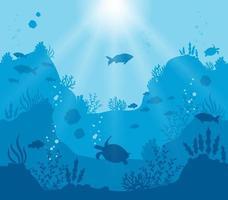 tiefblaue Unterwasserwelt Silhouette vektor