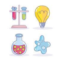 vetenskap forskning laboratorium lampa provrör bägare atom ikoner vektor