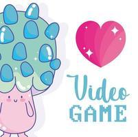 Videospiel Pilz Herz Charakter Kreatur Design vektor