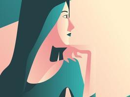 minimal konst av kvinna som har en kaffe