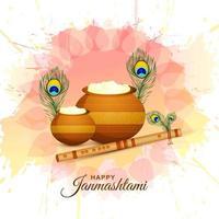 glückliche krishna janmashtami karte mit matki und makhan