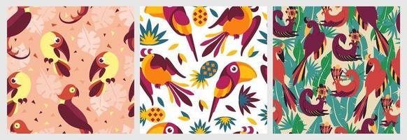 fåglar i djungeln sömlös mönsteruppsättning vektor