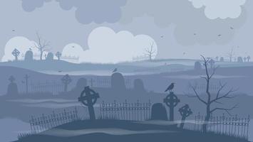 kyrkogård eller kyrkogård på en fruktansvärd natt vektor