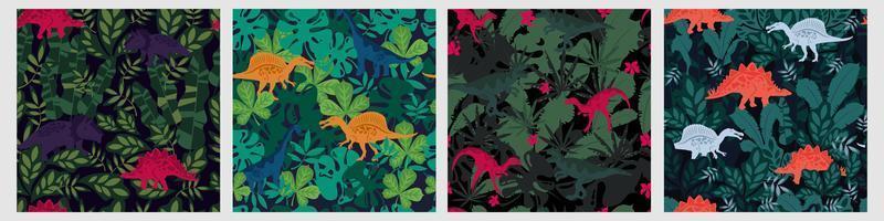 nahtlose Muster von Dinosauriern und tropischen Blättern vektor