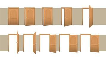 stängd och öppen dörruppsättning vektor