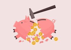 Sparschwein mit Hammer gebrochen