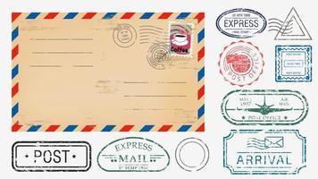 realistischer Umschlag mit verschiedenen Briefmarken vektor