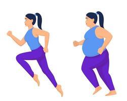 sportliche und übergewichtige Frau