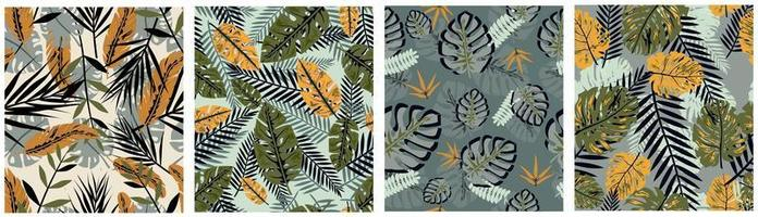 grünes gelbes fallendes tropisches Blätter nahtloses Muster vektor