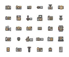 Kamera gefüllt Umriss Icon Set vektor