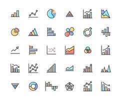 Business Graph gefüllt Gliederung Icon Set vektor