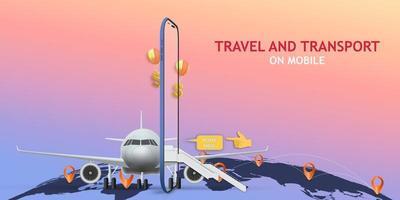 mobile Anwendung für Reisen und Transport vektor