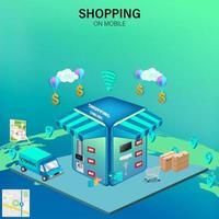 shoppa online på mobila webbplatser vektor