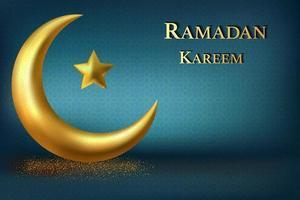 Ramadan Kareem Design mit goldenem luxuriösem Halbmond vektor