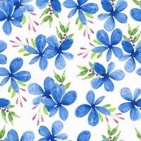 blå kronblad blomma akvarell mönster vektor