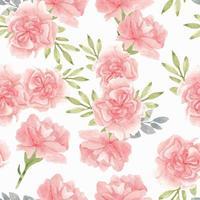 akvarell rosa nejlika blommönster