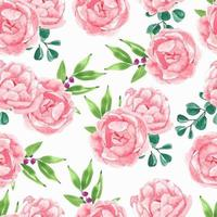 rosa pion blomma akvarell mönster vektor