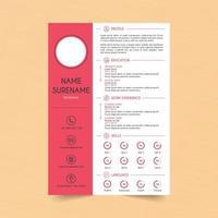 rosa einfache Lebenslaufvorlage vektor