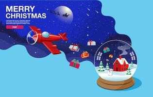 Frohe Weihnachten Schneekugel und Flugzeug fallen Geschenke