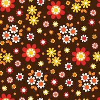 söt mod blommablomning sömlösa mönster på brunt vektor